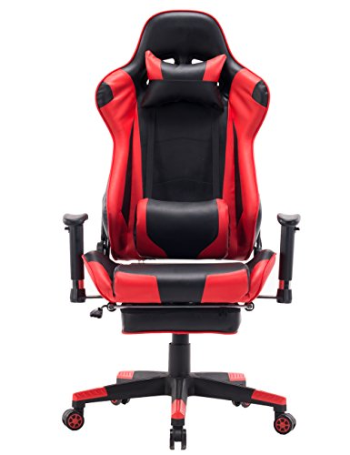 Swivel Gaming Chair Large Size PVC Leather Executive Office Chair with Headrest Lumbar Support Footrest ()
