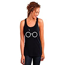 Glasses and Bolt Ladies Racerback Tank Top by Outlook Designs
