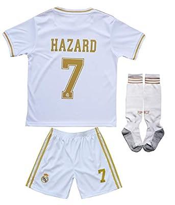 SecenMerch 2019/2020 New Hazard No #7 Real Madrid Home White Kids Soccer Jersey Kit Shorts Socks Set Youth Sizes