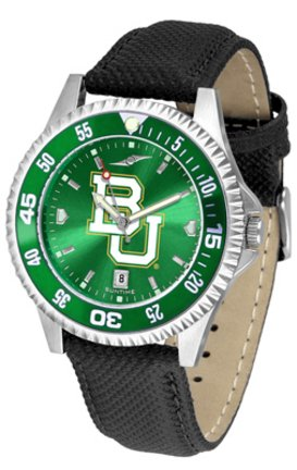 SunTime Baylor Bears Competitor AnoChrome Men's Watch with Nylon/Leather Band and Colored Bezel ()
