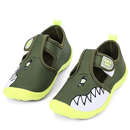 nerteo Kids Water Shoes Boys Beach Sandals Walking Sneakers Olive/Shark 8 Toddler