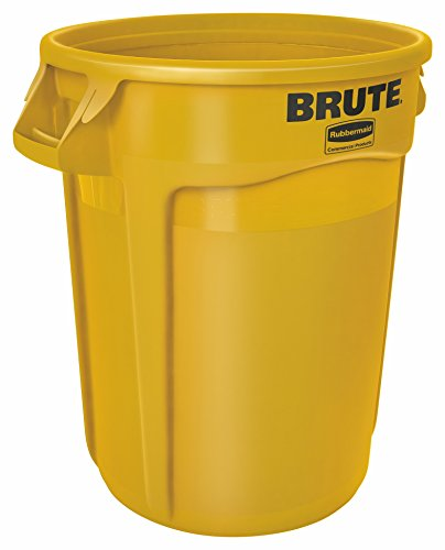 Rubbermaid Commercial BRUTE Heavy-Duty Round Waste/Utility Container with Venting Channels, 32-gallon, Yellow (FG263200YEL)