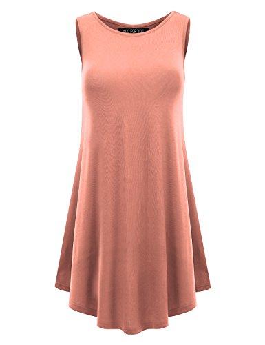 ALL FOR YOU Women's Sleeveless Round Hem Round-neck - Peach Tunic Top