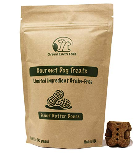 Green Earth Tails All Natural Grain Free Gourmet Peanut Butter Dog Treats: Limited Ingredient Healthy Rewards for All Breeds ()