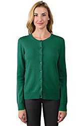 Jennie Liu Women S 100 Cashmere Button Front Long Sleeve Crewneck Cardigan Sweater M Forest