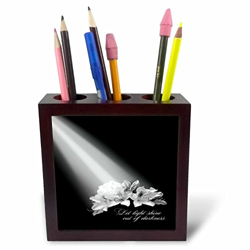 3dRose TDSwhite – Miscellaneous Photography - Inspirational Let Light Shine Out of Darkness - 5 inch Tile Pen Holder (ph_285355_1) by 3dRose