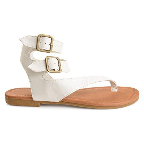 Brinley Co Mujeres Keelan Imitación Cuero Hebilla Doble Envoltura Tanga Sandalias Blancas