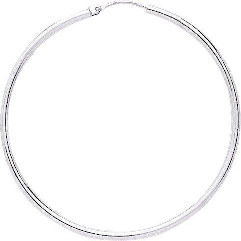 DESSA - Anneaux - Boucles d'Oreilles - Créoles - Or blanc - 18 carats - Diamètre 45 mm - Epaisseur 2 mm