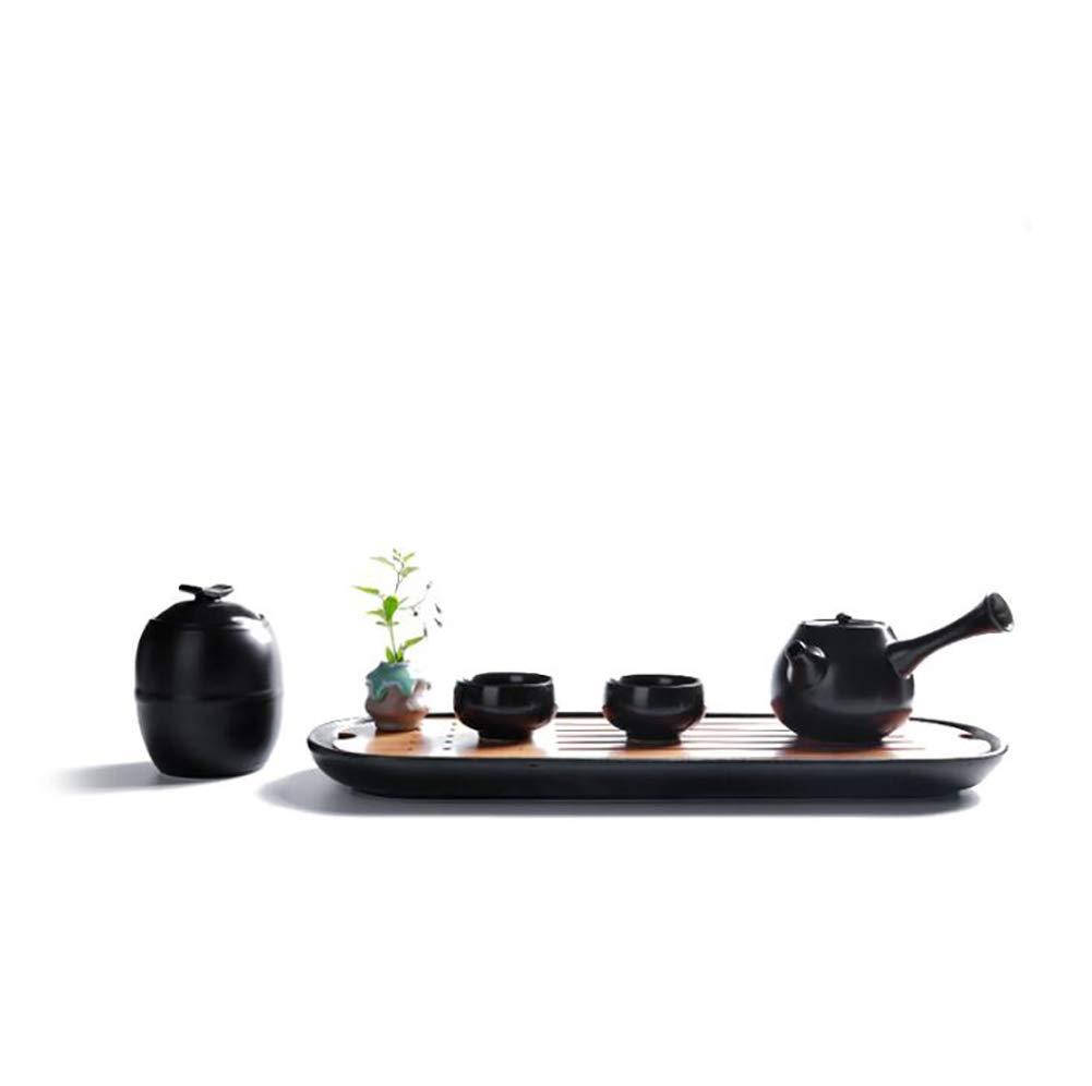CompraJunta Tea Set, Made of Ceramics, Tableware for Home, Office and Travel, Vessel 1, teapot 1, Cup 2, Flower Pot 1, Tray 1,Black