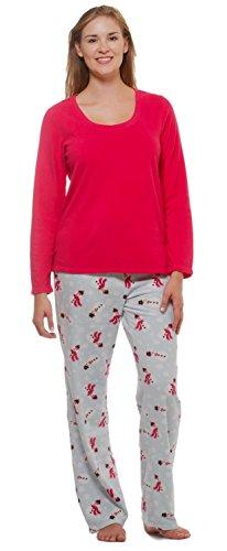 Women's Winter Fleece Lounge Pajama Set-Snowman-XL