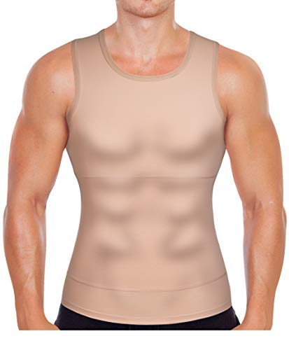 Gotoly Men Compression Shirt Shapewear Slimming Body Shaper Vest Undershirt Weight Loss Tank Top (Beige, XL: Fit Waist 33.8-35.8 inch) (Span Undershirts)