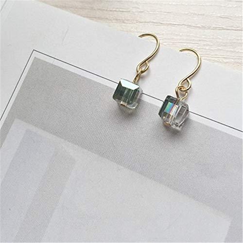 ESCYQ Women Earring Studs Earring Drop Earrings Ear Line Minimalist Square Glass Bead Mini Restoring Ancient Ways of Sugar Stud Earrings Pendant Earrings A Pair of ()