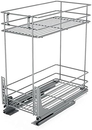 metall chrome schlie/ßt ganz sanft Gestell f/ür K/üchen-Unterschr/änke zum Herausziehen 150 mm
