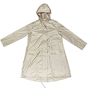 Ezyoutdoor Longer Raincoat with Zipper clear packable Slicker Poncho Bicycle Ridding Cape Women Men Cycling Bike Waterproof Rain Cape for Outside Camping Hiking Walking Travel (khaki)