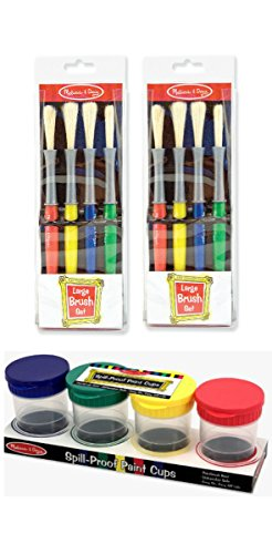 2 Sets of Melissa and Doug Large Paint Brush Set of 4 and a Melissa and Doug Plastic Spill Proof Paint Cups Set of 4 for Kids Bundle
