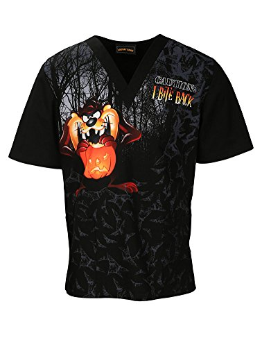 Tooniforms by Cherokee Unisex V-Neck Halloween Print Scrub Top Large Print