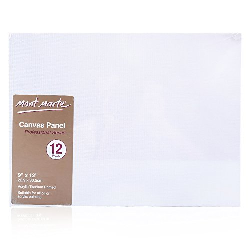 Mont Marte Canvas Panel (pack of 12), 9 X 12 inches, Canvas Panel Great for Students to Professional Artists (9 X 12 Canvas)