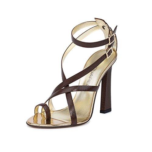 Dsquared2 Femme Marron Serpent Cuir Gaufré Anneau Orteil Sandales Chaussures Marron