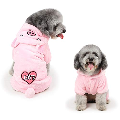 Stock Show Pet Winter Thick Soft Flannel Clothes Small Dog Cat Super Cute Piggy Four Legs Pajama with Hood Puppy Hoodie Coat Jumper Clothing Apparel for Small Medium Dog Puppy Cat, Pink
