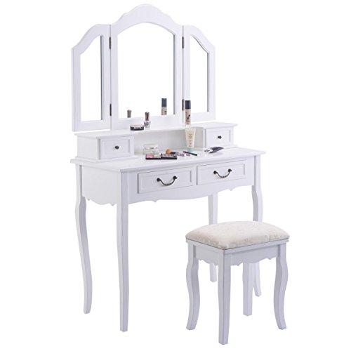 Giantex Tri Folding Mirror Black Wood Bathroom Vanity Set Makeup Table Dresser 4 Drawers + Stool (White) by Giantex