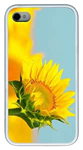 girly cover sunflower TPU White Case for iphone 4/4S