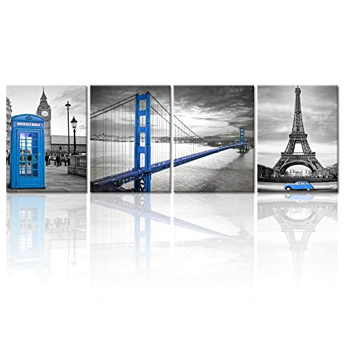 Visual Art Decor Black White and Blue Architecture Wall Decor Prints Creative San Francisco Golden Gate Bridge Eiffel Tower London Booth Big Ben Picture Framed Canvas Decoration Home Office