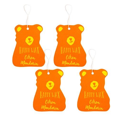(Happy Wax Scented Hanging Car Cub Air Freshener - Scented Car Freshener Infused with Natural Orange Essential Oils! - Cute Citrus Car Freshener 4-Pack (Citron Mandarin))