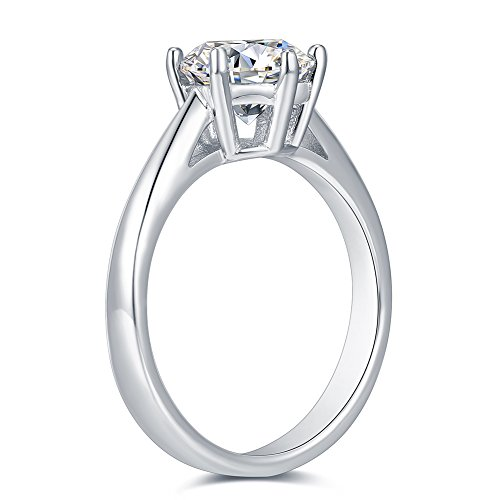 2.0 Ct Moissanite Ring Diameter 8.0mm H-I Colorless Sterling Silver Engagement Rings By Van Rorsi&Mo by Swhitee (Image #3)
