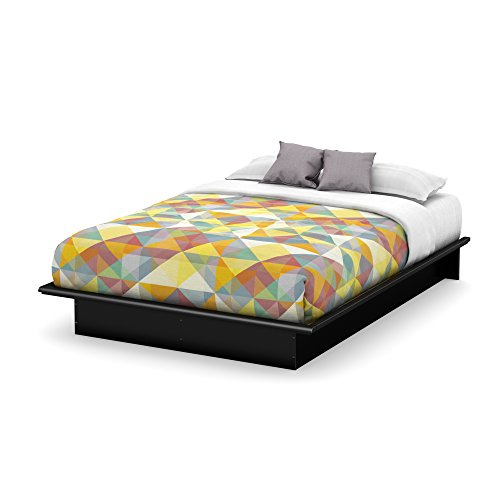 (Basic Collection Platform Bed with Moulding - Queen Size - Black - Contemporary Design -  by South Shore)
