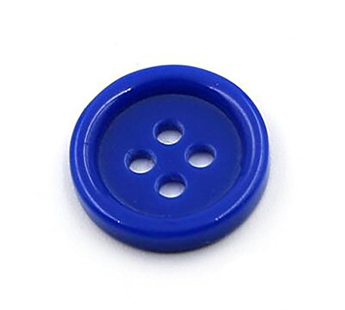 50PCS 1.18 Diameter Large Size Thick Round Smooth Resin 4 Hole Button for DIY Craft Sewing Embellishment Accessory (Blue)
