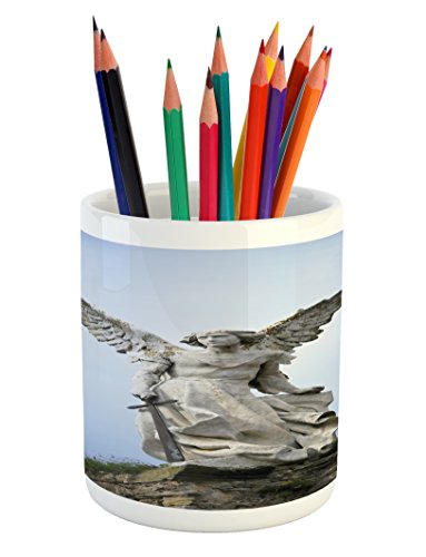 Lunarable Sculptures Pencil Pen Holder, Sculpture of Guardian Angel with Sword in Cemetery of Comillas Spain, Printed Ceramic Pencil Pen Holder for Desk Office Accessory, Pale Blue Coconut by Lunarable
