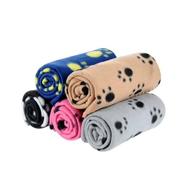 5 Packs 5 Colors Lovely Pet Paw Prints Fleece Blankets for Dogs Cats Small Pets Animals
