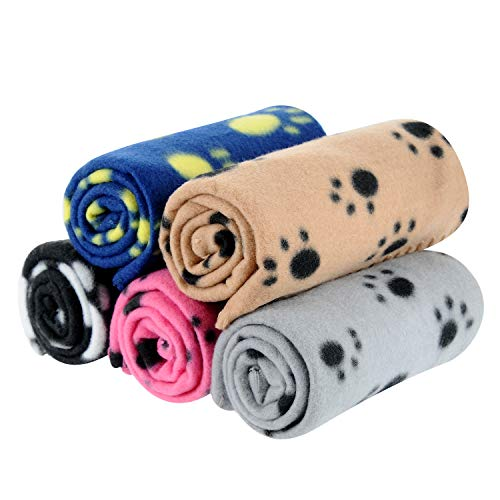 - 5 Packs 5 Colors Lovely Pet Paw Prints Fleece Blankets for Dogs Cats Small Pets Animals