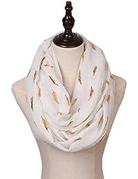 LightWeight Infinity Scarfs for Women Print Gold Silver Foil Pattern