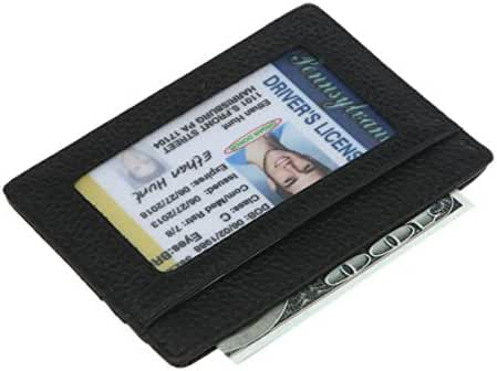DEEZOMO RFID Blocking Genuine Leather Slim Super Thin Card Holder With ID Card Window