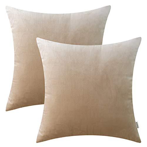 HOMFINER 20x20 inch Velvet Decorative Throw Pillow Cases Cushion Covers Soft Solid for Couch Bed Sofa Beige Set of - Cover Beige