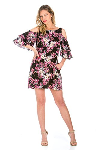 Truly Me Women's Cold Shoulder Floral Print Ruffle Sleeves Shift Dress (Black Multi - XL) (Floral Print Shift Dress)