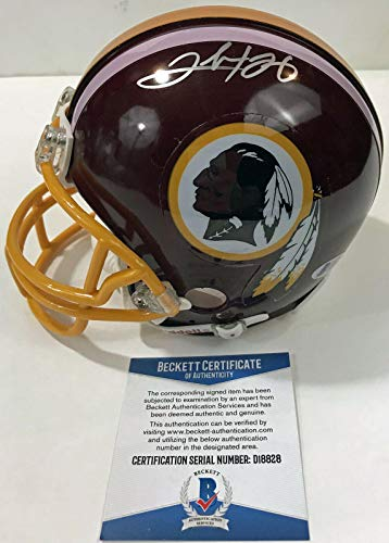 RARE! Chris Cooley and Clinton Portis signed WASHINGTON REDSKINS Mini Helmet BAS - Beckett Authentication