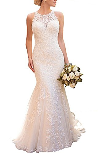 Women Lace Appliqued Wedding Gowns Mermaid Princess Lace Wedding Dresses Long