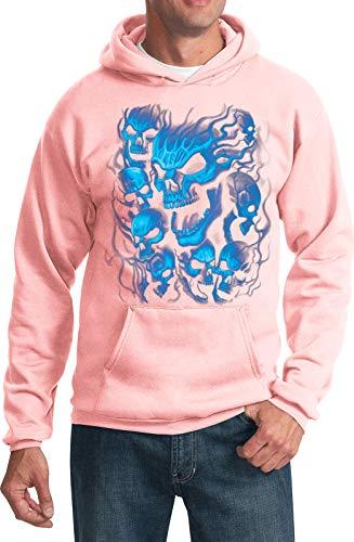 Buy Cool Shirts Screaming Blue Skulls Hoodie, Pale Pink XL (Pink Hoodie Skull)