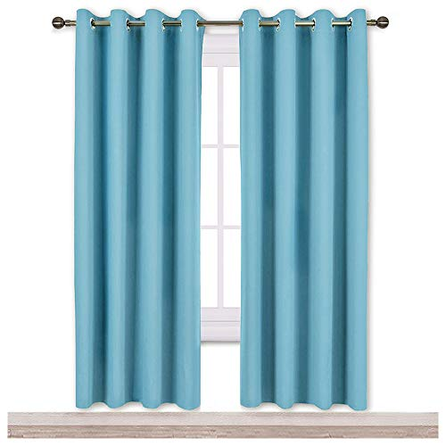 (NICETOWN Blackout Curtains Panels for Window - Window Treatment Thermal Insulated Solid Grommet Blackout Drapes for Bedroom (Double Panels, 52 by 72 Inch, Teal Blue))