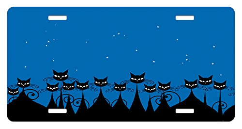 Ambesonne Night License Plate, Artistic Graphic Crowd of Stylized Black Cats and Starry Sky on The Backdrop, High Gloss Aluminum Novelty Plate, 5.88 L X 11.88 W Inches, Blue Black White