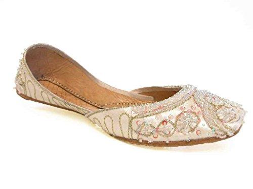 Beachcombers Womens Khussa Ivory Silk Beaded Flats Size 7