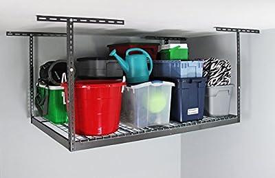 "MonsterRax - 4x6 Overhead Garage Storage Rack – Hammertone (18""-33"")"