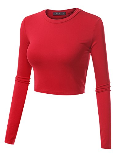 Doublju Basic Long Sleeve Crop Top For Women With Plus Size Red (Colored Crop)
