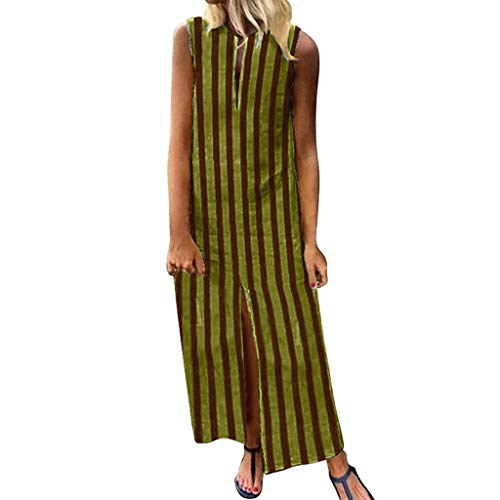 Sunhusing Summer Euro-American Style Long Sleeveless Deep V-Neck Striped Print Stylish Casual Ladies Dress Yellow ()