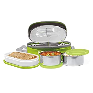 Milton Executive Lunch Box (2 SS Container,1 Microwave Safe Container),Green