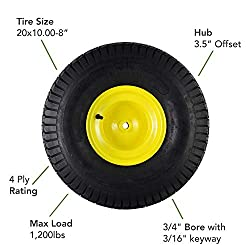 MARASTAR 21423 20x10.00-8 Rear Tire Assembly Repla