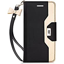 FYY Case for Samsung Galaxy S7, Premium PU Leather Wallet Case with Cosmetic Mirror and Bow-knot Strap for Samsung Galaxy S7 Black+Gold