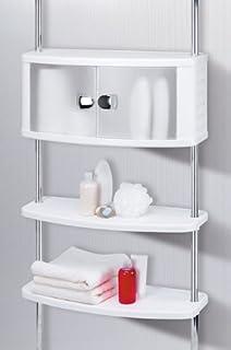 badregal ohne bohren 4 ablagen 155-285 cm weiß duschablage ... - Badezimmer Regal Ohne Bohren